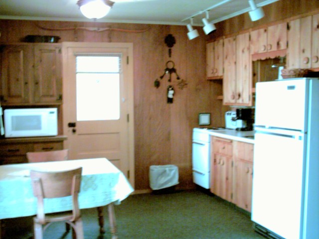 A rental cabin kitchen